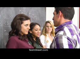 Naughty teacher is teasing three school girls