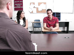 Classmate chick and dude are fucking on teacher's desk