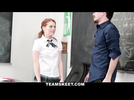Ginger student babe gets hot from cunnilingus