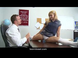 Blonde is demonstrating her flexibility to her teacher