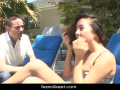 Cutie got seduced for blowjob while tanning by the pool