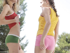 Teen lesbians are excitingly fondling their young bodies