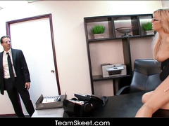 Office worker blonde chick is getting hot and horny at work