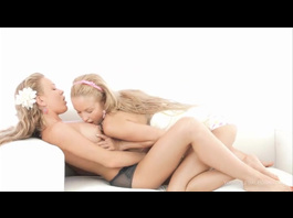 Cute petite lesbian blonde girlfriends and fucking with giant dildo