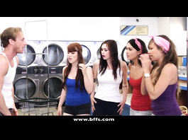 Sexy hot bitches got fucked hard in washhouse