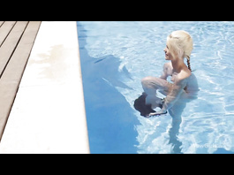 Glamour lesbians are fucking outdoors by fancy pool