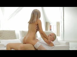 Blonde dude is licking blonde chick's pussy