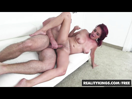 Redhead Ashlee Graham gets fingered and sucks dick outdoors