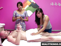 Two Asian masseuses Angelina Chung and Mia Li are fucking their bald client