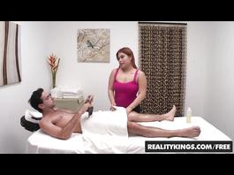 Appetizing plump Kehlani Kalypso massages big dick dude and fucks him