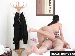 Slender young brunette Leyluken Pussykat massages nude guy and fucks him