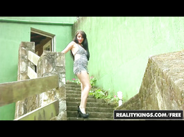 Awesome sexy brunette Fernanda Magalhoes does deep blowjob and fucks outdoors