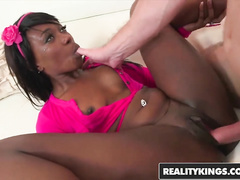 Exciting slender black babe Coochie Cutoffs enjoys passionate interracial sex