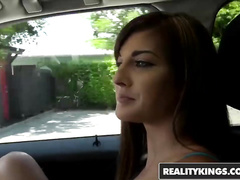 Charming sexy Dakota Vixin got seduced and fucked hard in the car