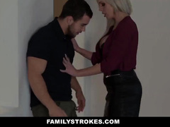 Horny blonde milf with big tight round fake boobs deepthroats stepson's big dick