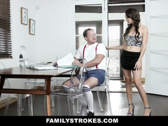 Handsome guy loves to fuck his sexy slender shaped stepsister