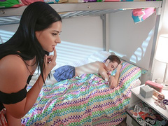 Fuck hungry young brunette sneaks in stepbrother's bed and fucks him