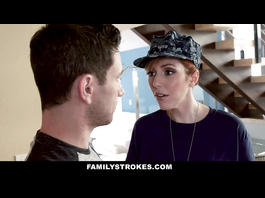 Charming sexy shaped redhead army milf gets fucked by stepson