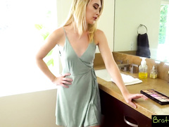 Blonde chick in sexy dress gets fucked hard by stepbrother
