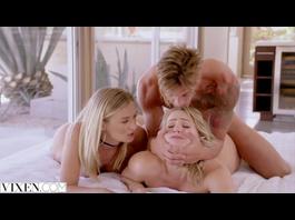 Horny hot blondes Mia Malkova and Natalia Starr are having threesome fuck