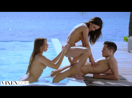 Beauty young sluts are pleasuring hardcore ffm threesome fuck by the pool