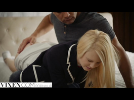 Teen blonde Lily Rader covets to her stepfather and gets punished with rough fuck