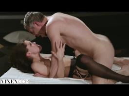 Burning hot brunette meets her boyfriend dressed in hot black sex lingerie