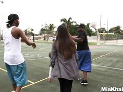 Two black guys are having interracial threesome with beauty Muslim girl Mia Khalifa