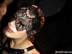 Amazingly slender blonde Nicole Aniston passionately fucks wearing black lace sex lingerie