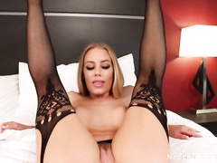 Sexy hot blonde Nicole Aniston shows her asshole before doing footjob