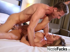 Bubble butt blonde Nicole enjoys hardcore fuck in hotel room