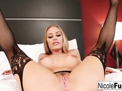Hot blonde girl Nicole Aniston wearing black stockings does hot footjob
