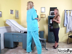 Beautiful Nicole Aniston comes to doctor and gets pleased with lesbian threesome
