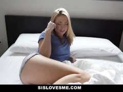 The guy records his stepsister masturbating pussy and blackmails her