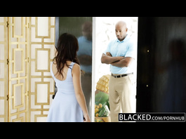 Bald black guy seduces beautiful brunette Megan Rains and pleases with interracial hardcore
