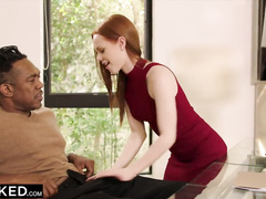 Skinny ginger babe seduces strong black and enjoys interracial hardcore fuck