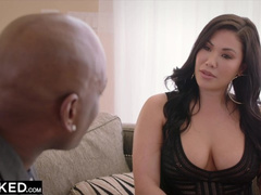 Buxom tight brunette does blowjob to her boss and enjoying interracial anal sex