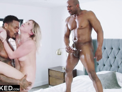 Sweet blonde slut Khloe Kapri enjoys interracial mmf threesome fuck