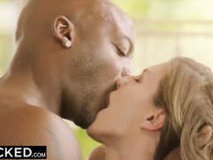 Charming sexy young white slut blowjobs bbc in bathroom and enjoying interracial fuck on the bed