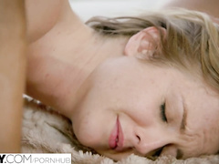 Delightful blonde girlfriends Alex Grey and Karla Kush are loving hardcore threesome anal fuck