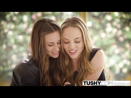 Young girlfriends Cassidy Klein and Aubrey Star are having hot threesome fuck