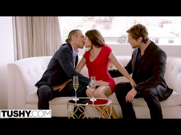 Young brunette with long brown hair is having hardcore anal threesome