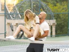 Impressive hot blonde Aubrey Star gets fucked hard by her tennis trainer