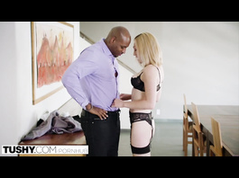 Slender sexy shaped blonde enjoys interracial anal hardcore