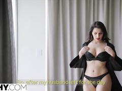 Bubble butt brunette beauty turns on her fucker with deep blowjob