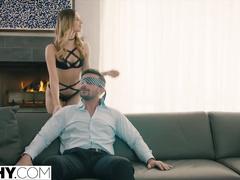 Dirty blonde ties boyfriend's eyes and makes girlfriend to suck his dick