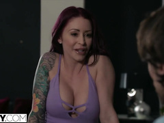 Appetizing juicy redhead milf with hot tattoos loves rough anal fuck
