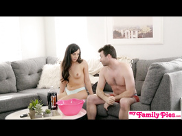 Burning hot brunette handjobs and deepthroats stepbrother's dick