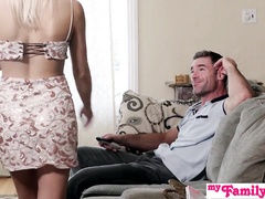 Slender blonde Khloe Kapris excites her brother with blowjob