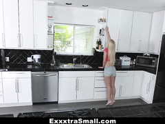 Slender sexy shaped blonde chick got undressed and passionately fucked by stepbrother